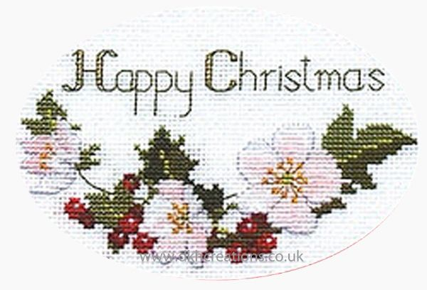 Christmas Roses Card Cross Stitch Kit